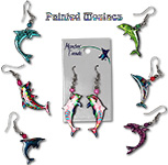 Mosaic acrylic dolphin earrings with seed bead accent