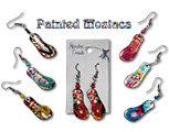 Mosaic acrylic flip flop earrings with seed bead accent.  Made in Peru