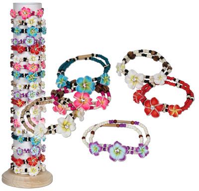 Fimo flowers on stretch coco beaded stetch bracelet