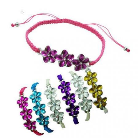 Enamel Plumeria flowers on macrame braided bracelet in assorted colors
