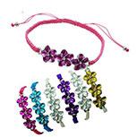Enamel Plumeria flowers on macrame braided bracelet in assorted colors