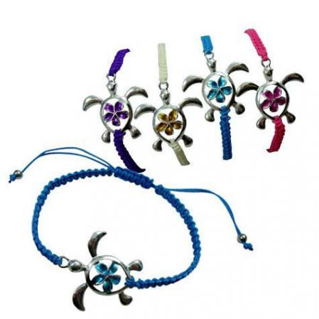 Enamel turtle on macrame braided bracelet