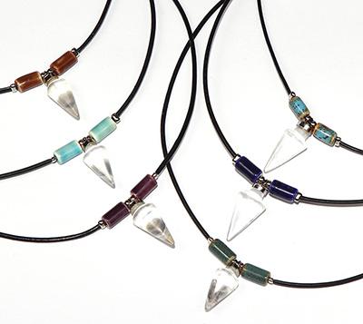 Quartz cone pendant with ceramic beads