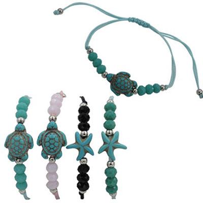 Turquoise sea turtle and starfish bracelet