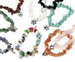 Semi precious chip stretch bracelets with assorted charms