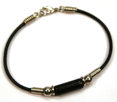Black Greek Ceramic bead leather bracelet