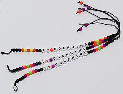 Neon beaded I love Dolphinsfriendship bracelets