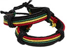 Rasta string Leather bracelet