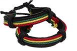 Rasta string Leather bracelet