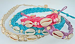 Linen bracelet with seed beads and cowrie shells in assorted colors