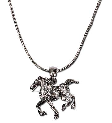 Crystal rhinestone horse pendant necklace