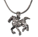 Crystal rhinestone horse pendant necklace