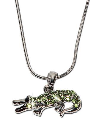 Green rhinestone crocodile pendant necklace