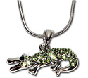 Green rhinestone crocodile pendant necklace