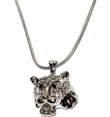Crystal rhinestone lion pendant necklace