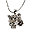 Crystal rhinestone lion pendant necklace