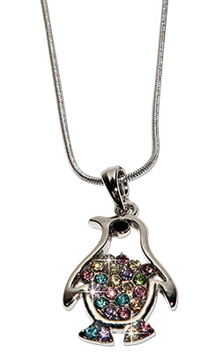 Crystal and multi-colored rhinestone penguin pendant necklace