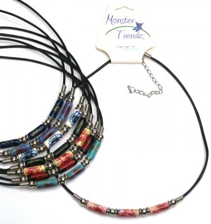 Floral Greek bead necklace handmade in New Hampshire by Tropical Rose