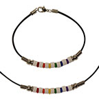 Tropical Rose Rainbow ceramic and silicone beaded leather styles
