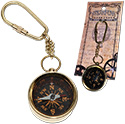 Tropical Rose- Brass Compass Key Ring