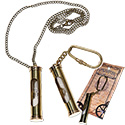 Brass sand timer - hourglass key chain or antique brass chain necklace