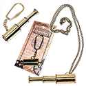 Brass 3 telescope available on brass key chain or antique brass chain necklace