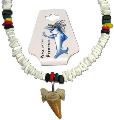 "SH153-155N, White shell and rasta coco bead 18"" necklace with real fossilized otodus shark toot"