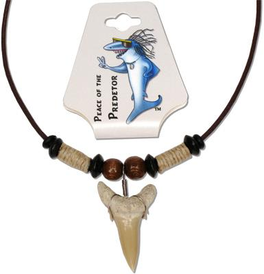 MN118-206N, Wood and hemp bead necklace with real sand shark tooth pendant on brown leather