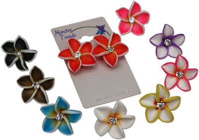 Island flower fimo and CZ crystal stud earrings