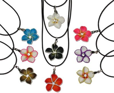 Island flower fimo and CZ pendant necklace