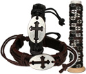 Leather bracelet with metal cross piece