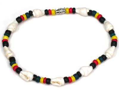 Rasta coco and spiral shell anklet
