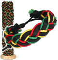 Leather and Rasta hemp braided bracelet