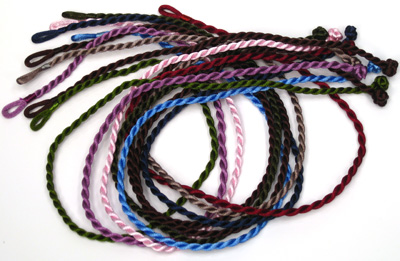 P-CR104-C, Rayon rope cord necklace in assorted colors