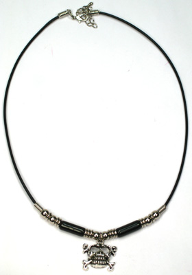 MN120-228N, Pewter skull and crossbones pendant on Greek beaded leather necklace
