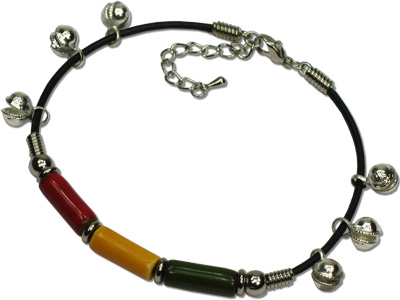 Rasta Ceramic Beaded Belled Anklets by Tropical Rose