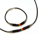 MB135 series, Black ceramic and rainbow silicone beaded leather styles