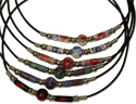 MB125.2N, Scarlet Begonias Greek floral beaded necklace on leather