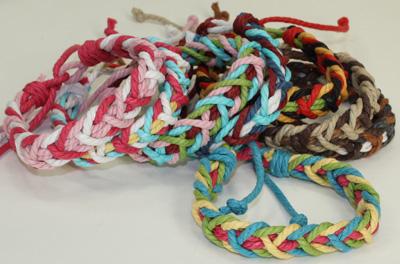 Multi colored cotton braided sailor's bracelet, MC191B