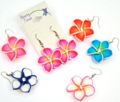 FM134ED, Island flower fimo and CZ crystal dangle earrings