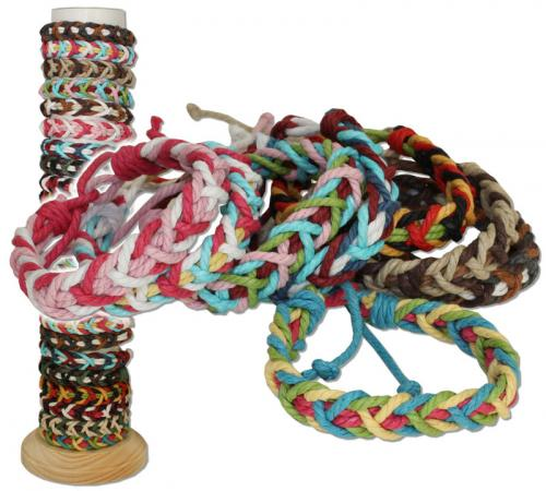 Multi colored cotton braided sailor's bracelet, MC191B