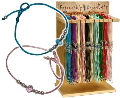 Satin, crystal and pearl friendship bracelets, WL126B