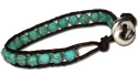 Turquoise beaded bracelet with silver beaded side accents, MC146B