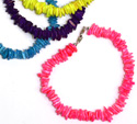Neon painted square shell ship anklets from Tropical Rose , SH120A-N