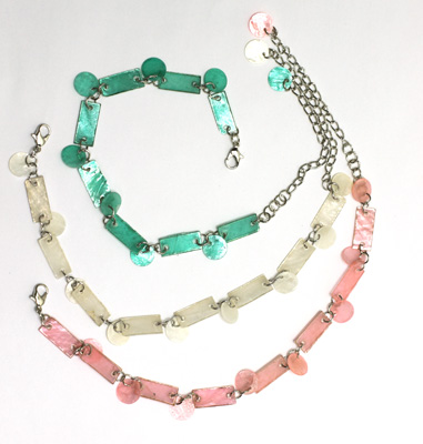 Light shaped shells linked for bracelets, anklets and tween sized necks