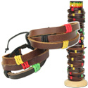 Leather and Rasta colored hemp braided bracelet