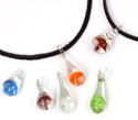 Glass mushroom suede necklace