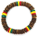Tiger coco and rasta 8-9mm bead stretch bracelet