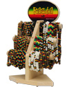 Rasta beaded necklace, anklet and bracelet display kit