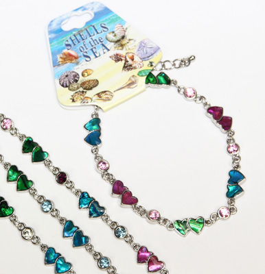 Paua shell double heart bracelet with CZ crystal decoration